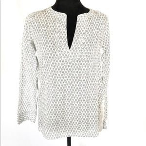 J. Crew white and black shirt with silver detail